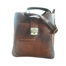 Brown KLC Leather Messenger Bag, Pure Leather: Yes