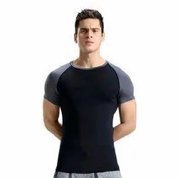 Black, Grey Zesteez Men Round Neck Gym T-Shirt, Size: M