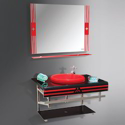 Glass Basin With PVC Vanity Full Set (Square)