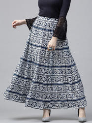 Navy Printed Tiered Skirt