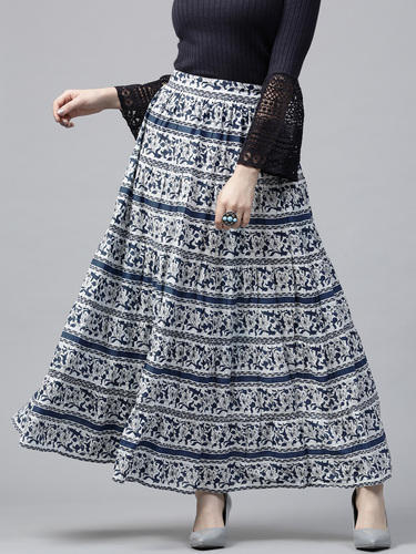 Cotton Long Navy Printed Tiered Skirt