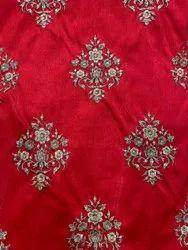 Red Zari Embroidery Dupion Fabric