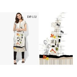Fancy Half Sleeve Digital Printed Crepe Kurti