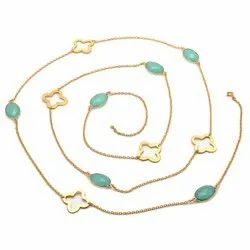 Aqua Chalcedony Long Chain Necklace