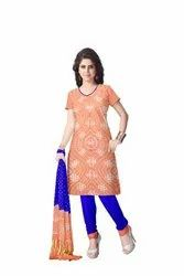 Peach And Blue Color Fancy Design Gaji Silk Bandhani Suit