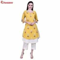 Gorgy Women Embroided Double Layer Kurta with Trouser (Khadi Work)