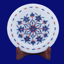 White Marble Inlay Round Plate