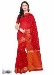 Cotton Saree with Blouse Piece, Length: 6.3 m