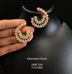 Golden Perky Pearl Earrings