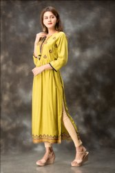 Yellow Color Embroidered Work Pattern Design Long Kurtis