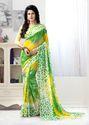 PR Fashion Green & Yellow Georgette Printed Saree