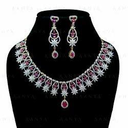 Fancy Artificial Design Pink Zircon AD Necklace Set