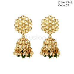 Traditional Beaded Kundan Jhumka Earring