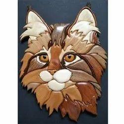 Hand Made Wooden Cat