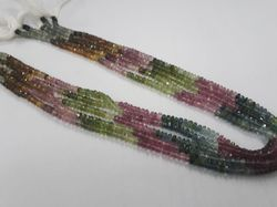 Multi Tourmaline Faceted Rondelle Beads Strands