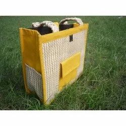 Open Yellow, White Loop Handle Jute Carry Bag, Capacity: 3 Kg