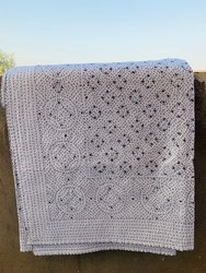 White Cotton Kantha Bed Cover