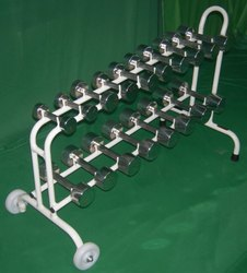 Imi Iron Chrome Plated Dumbbells Set With Cart