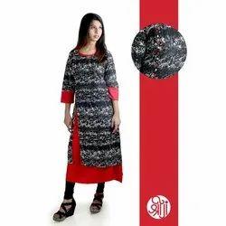 Casual Wear 3/4th Sleeve Ladies Trendy Georgette Kurti, Size: S