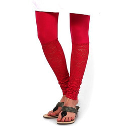 Red Net And Cotton Ladies Legging, Size: Free Size