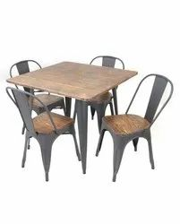 Metal Dining Table with Wooden Top