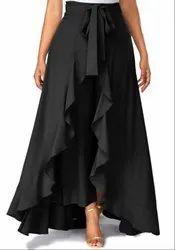 Black American Crepe Ruffel Palazzo Skirt