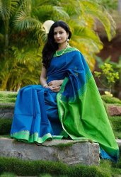 Wedding Wear Ladies Blue And Green Cotton Handloom Saree, 6.3 m (with blouse piece)