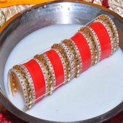 Maroon Designer Golden Stone Bridal Chura