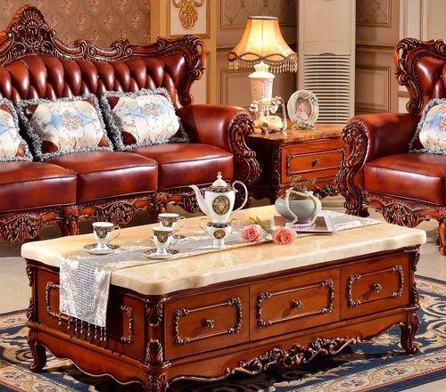 Pure Wooden European Style Sofa Set