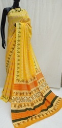 Yellow Exclusive Hand Block Printed Cotton Saree