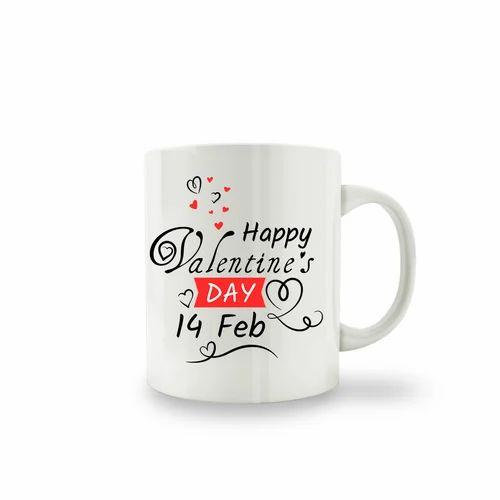 White Mugs With Multi Color Print Ceramic Valentine S Day Coffee Mug