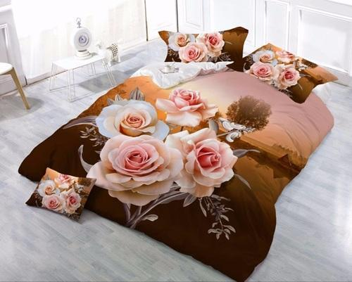 Glace Cotton Orange And Green Floral Print Bed Sheet With Two Pillow - Orange print sheets
