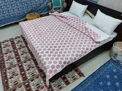 Indian Sanganeri Jaipuri Hand Block Printed Handmade Cotton Soft Floral Queen Size Quilt