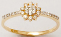 Valentine Jewellery Yellow Gold Round Pressure Set Diamond Ring
