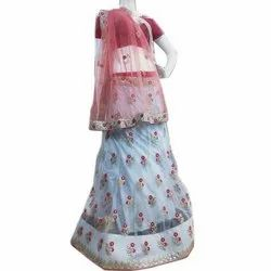 SRS Semi-Stitched Ladies Silk Embroidered Designer Lehenga, Size: Free