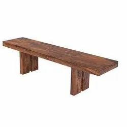 Brown Polished Wooden Bench, Rectangle