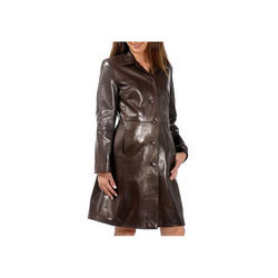 Ladies Long Leather Coat