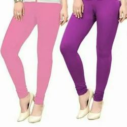 Churidar Casual Wear Plain Cotton Leggings, Size: Free Size