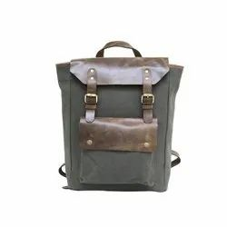 Grey Canvas With Glossy Leather Backpack for School and College Students