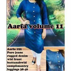 Aarfa 192 Pure Jeans Rugged Denim Kurti