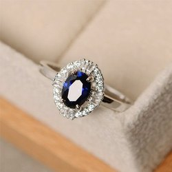 Blue Gemstone Diamond Ring