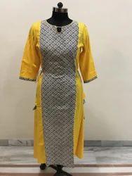 Lavanya Bagru print with yellow rayon A Line Kurti