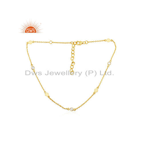 CZ Gemstone Sterling Silver Gold Plated Necklace