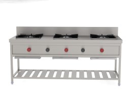 Gray S.s. Three Burner Gas Cooking Range, For Restaurant