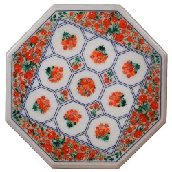 Inlay White Marble Table Top Decorative