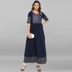 Dark Blue Poly Crepe Kurta