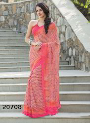 Georgette Peach Color Printed Saree