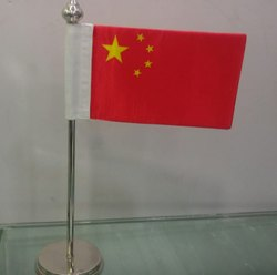 Single Steel Chrome Table Flag