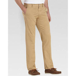 Beige Cotton Mens Slim Fit Casual Pant