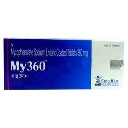 Allopathic 360 mg Enteric Coated Mycophenolate Sodium Tablet, Packaging Type: Box